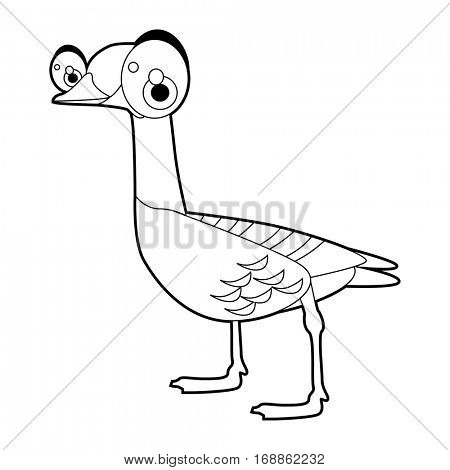 Cute funny cartoon style coloring bird illustration. Goose