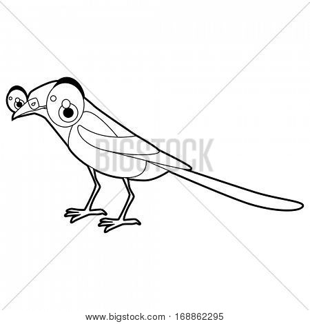 Cute funny cartoon style coloring bird illustration. Magpie