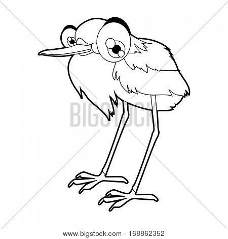 Cute funny cartoon style coloring bird illustration. Heron