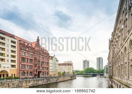 BERLIN, GERMANY- May 18, 2016: Typical Street view May 18, 2016, 2016 in Berlin, Germany. Berlin is the capital of Germany. With a population of approximately 3.5 million people.BERLIN, GERMANY