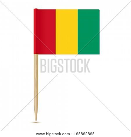 Flag of Guinea. Flag toothpick on white background 10eps