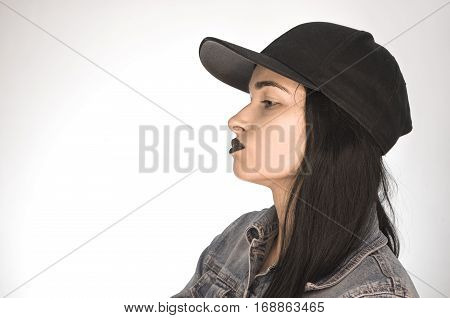 Beautiful Girl. Girl On A White Background In Profile.