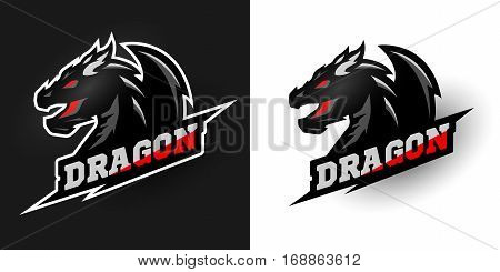 Logo Dragon sporty style Two options. Vector illustration.