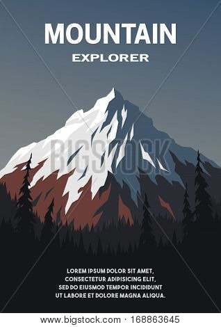 Mountain on a background of an evening nature. Vector background on the theme of tourism outdoor recreation travel.
