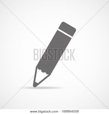 Pencil icon in flat design. Vector illustration. Gray pencil on white background with shadow.