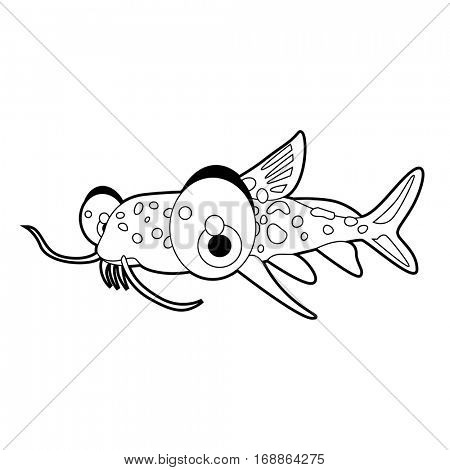 coloring cute sea life animals illustrations. Cat Fish.