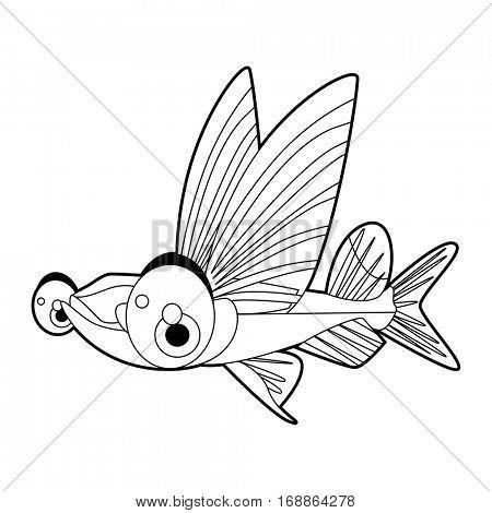 coloring cute sea life animals illustrations. Flying Fish.