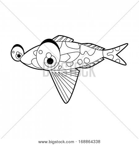 coloring cute sea life animals illustrations. Fish.
