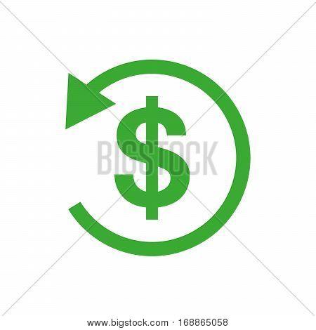 Refund money icon. Vector illustration. Green sign of refund money in flat design.
