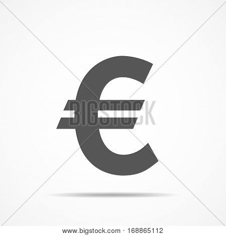 Gray euro currency icon in flat design. Vector illustration. The euro icon isolated on light background.