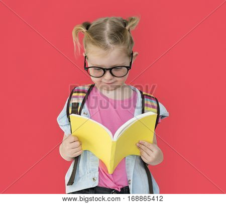 Little Girl Reading Textbook Education Knowledge