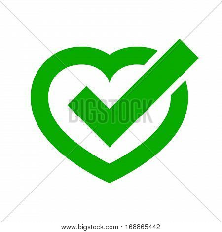 Heart with Yes check mark. Vector illustration. Green heart with check mark on light background.