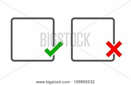 Square frames with Yes and No check marks. Vector illustration. Yes and No check marks. Vector illustration. Gray frames with red and green check marks on light background.