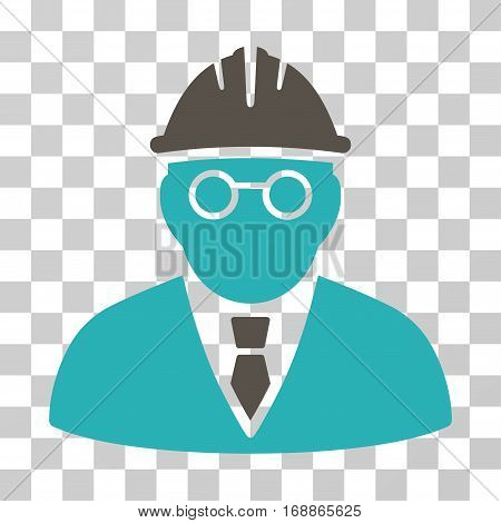 Clever Engineer icon. Vector illustration style is flat iconic bicolor symbol grey and cyan colors transparent background. Designed for web and software interfaces.
