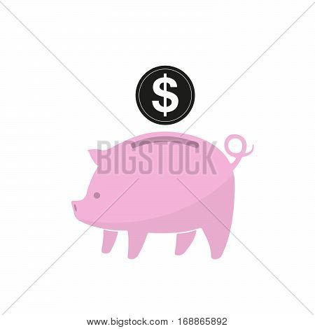 Pink piggy bank and coin isolated. Piggy bank with dollar coin in flat design. Vector illustration.