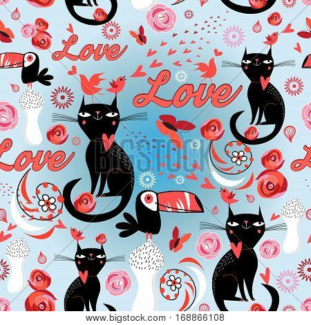 Seamless festive pattern with lovers cats and birds