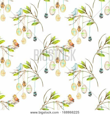Seamless pattern with Easter eggs on the spring tree branches, hand drawn isolated on a white background