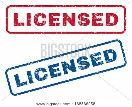 Licensed text rubber seal stamp watermarks. Vector style is blue and red ink caption inside rounded rectangular banner. Grunge design and dirty texture. Blue and red emblems.