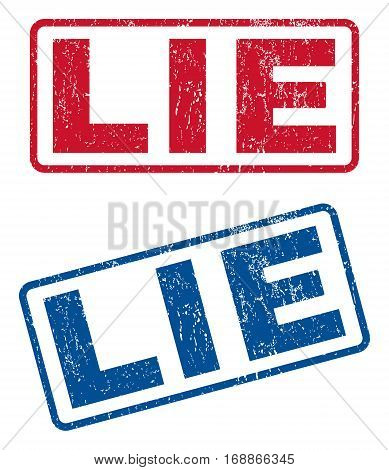 Lie text rubber seal stamp watermarks. Vector style is blue and red ink tag inside rounded rectangular shape. Grunge design and unclean texture. Blue and red stickers.