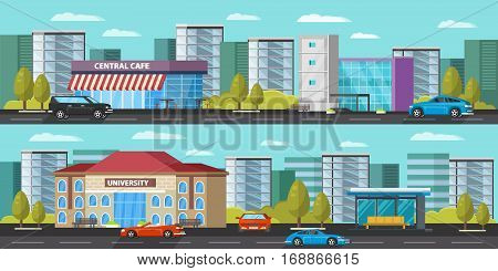 Urban landscape horizontal banners with cars trees cityscape and modern municipal buildings vector illustration