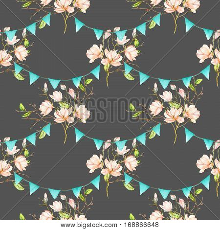 Seamless pattern with garlands of the blue flags on spring magnolia tree branches, hand drawn on a dark background