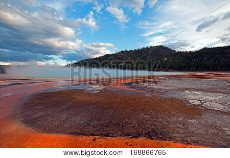 Grand Prismatic Hot Spring - Yellowstone National Park in Wyoming USA