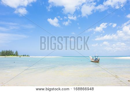 Fishing Boat On The Seascape And Cloud In Blue Sky At Asia Beach