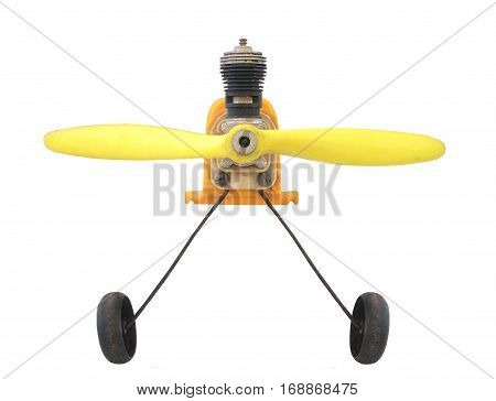 old engine radio controlled aircraft / isolated white