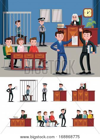 Law system flat composition with judicial session and different participants of hearing in courthouse vector illustration
