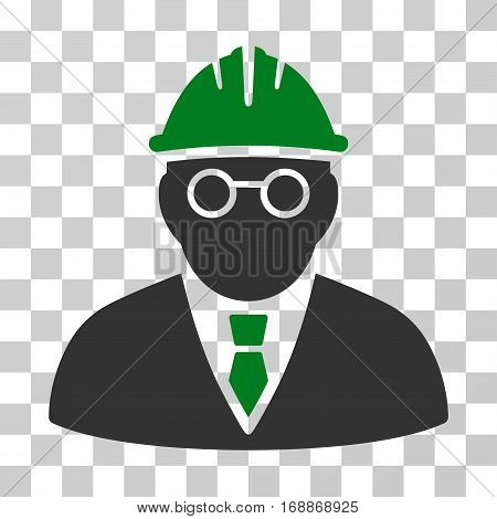 Clever Engineer icon. Vector illustration style is flat iconic bicolor symbol green and gray colors transparent background. Designed for web and software interfaces.
