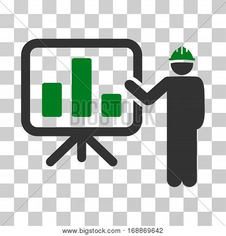 Engineer Pointing Chart Board icon. Vector illustration style is flat iconic bicolor symbol green and gray colors transparent background. Designed for web and software interfaces.
