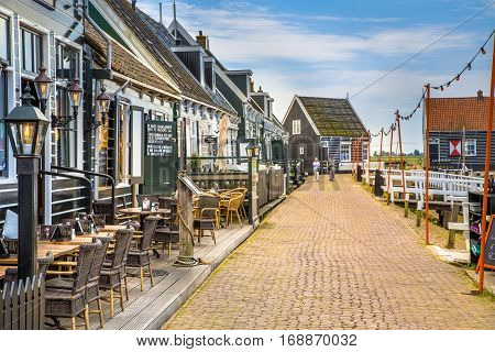 Cafes And Restaurants In Traditional Harbour Village Island Of Marken
