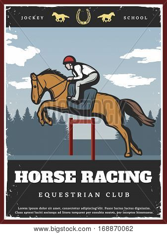 Colorful equestrian sport poster with jockey riding stallion on horse racing in vintage style vector illustration