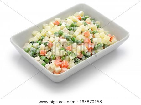 macedonia salad, macedoine de legumes, chicken potato salad, mixed vegetable salad, french cuisine