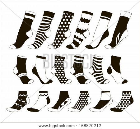 Vector illustration set, collection flat design socks isolated on light background. Textile warm clothes socks pair cute decoration wool winter clothing. Sport season collection.