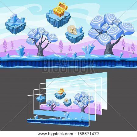 Cartoon landscape template for game design with futuristic trees minerals skull chest and separated layers vector illustration