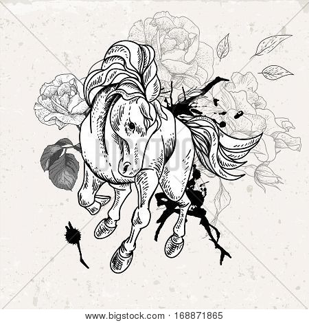 Hand drawn black and white sketch of horse with flowers. Vector vintage design elements, outline drawing illustration