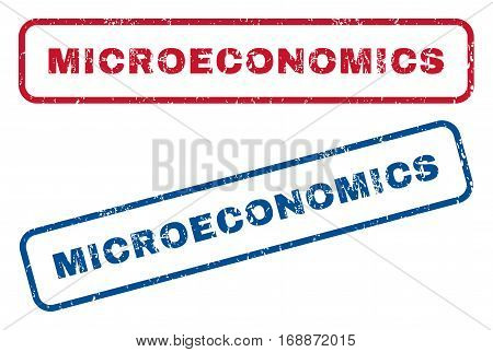 Microeconomics text rubber seal stamp watermarks. Vector style is blue and red ink caption inside rounded rectangular shape. Grunge design and scratched texture. Blue and red signs.