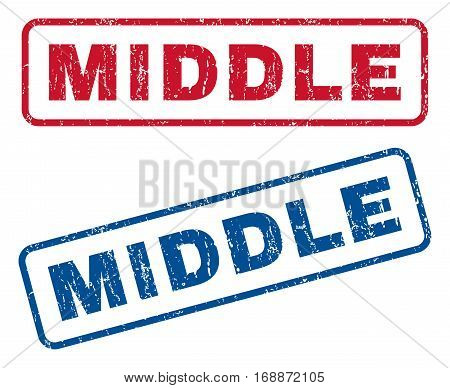 Middle text rubber seal stamp watermarks. Vector style is blue and red ink caption inside rounded rectangular banner. Grunge design and scratched texture. Blue and red stickers.