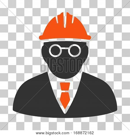 Clever Engineer icon. Vector illustration style is flat iconic bicolor symbol orange and gray colors transparent background. Designed for web and software interfaces.