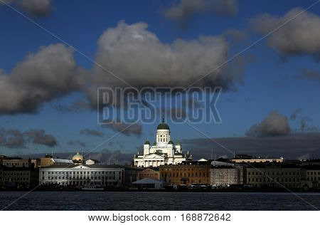 The view of the Old Town and Lutheran Christian Cathedral Church at the Senate Square in Helsinki Finland