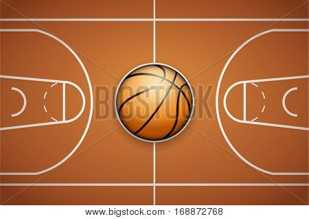 Poster Template with Basketball Ball on arena field. Cup and Tournament Advertising. Sport Event Announcement. Vector Illustration.
