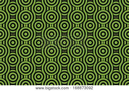 Illustration of several green and orange concentric circles