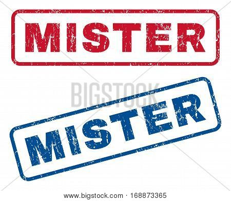 Mister text rubber seal stamp watermarks. Vector style is blue and red ink tag inside rounded rectangular banner. Grunge design and dirty texture. Blue and red signs.