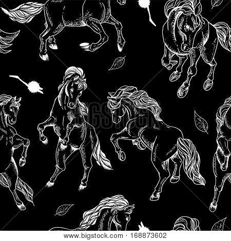 Hand drawn monochrome seamless pattern of horse on black background. Vector vintage design elements, outline drawing illustration