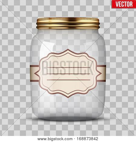 Glass Jar for canning and preserving with sticker label. Vector Illustration isolated on transparent background.