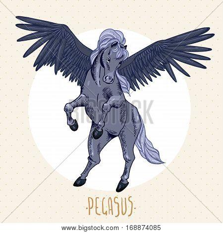 Vintage vector illustration of black winged pegasus, vintage vector design elements, greeting card