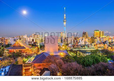 Tokyo, Japan skyline from Asakusa with Sensoji Temple and Skytree Tower.