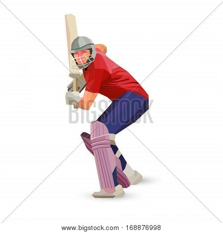 Low polygon style illustration of a cricket player batsman with bat batting set isolated on white