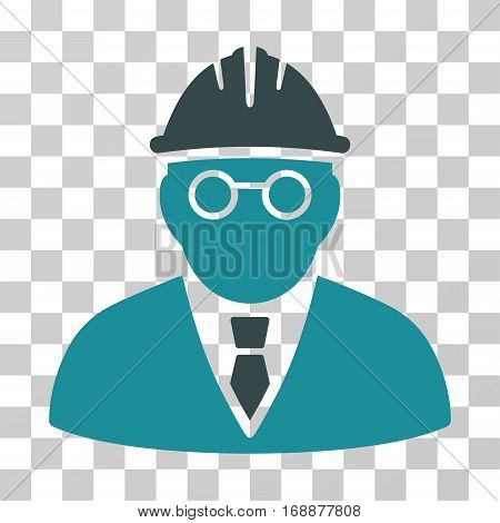 Clever Engineer icon. Vector illustration style is flat iconic bicolor symbol soft blue colors transparent background. Designed for web and software interfaces.